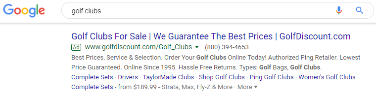 Best Google Ads Examples Golf