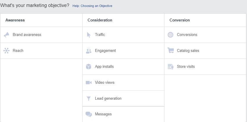 Social Media Advertising Choosing Objective
