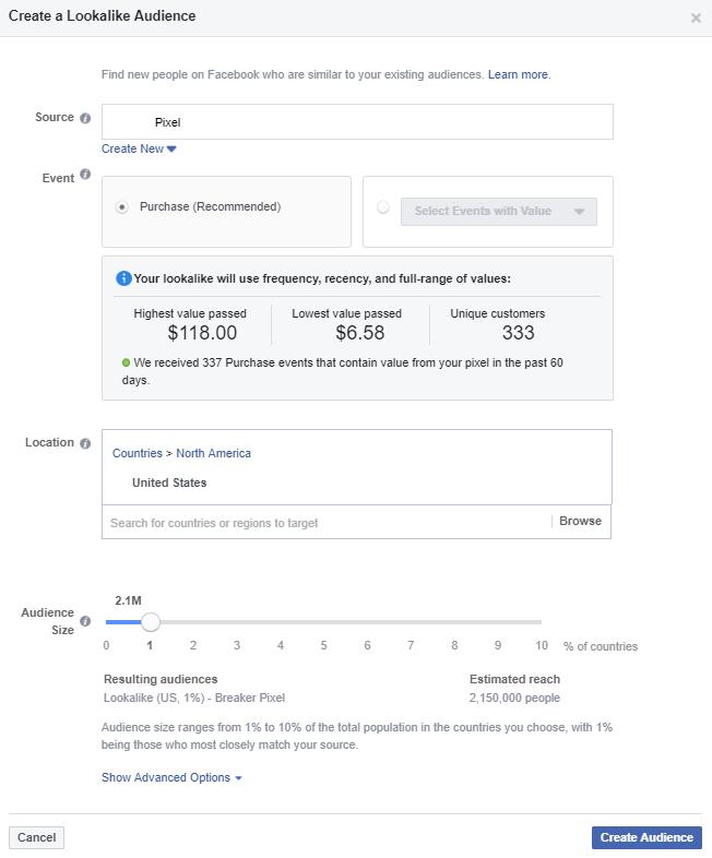 Social media advertising facebook lookalike audience
