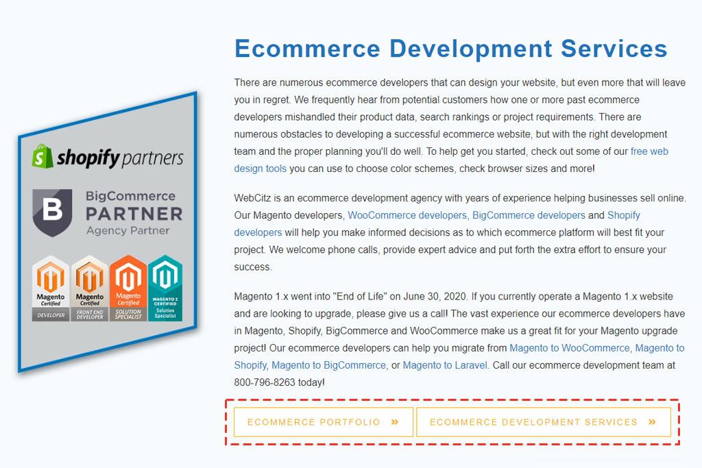 Ecommerce portfolio button