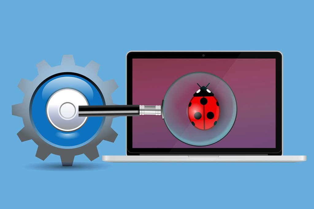 graphic of a magnify glass over a bug thats on a computer screen
