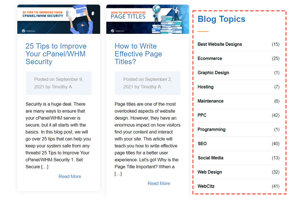 Red square highlighting categories of blog types