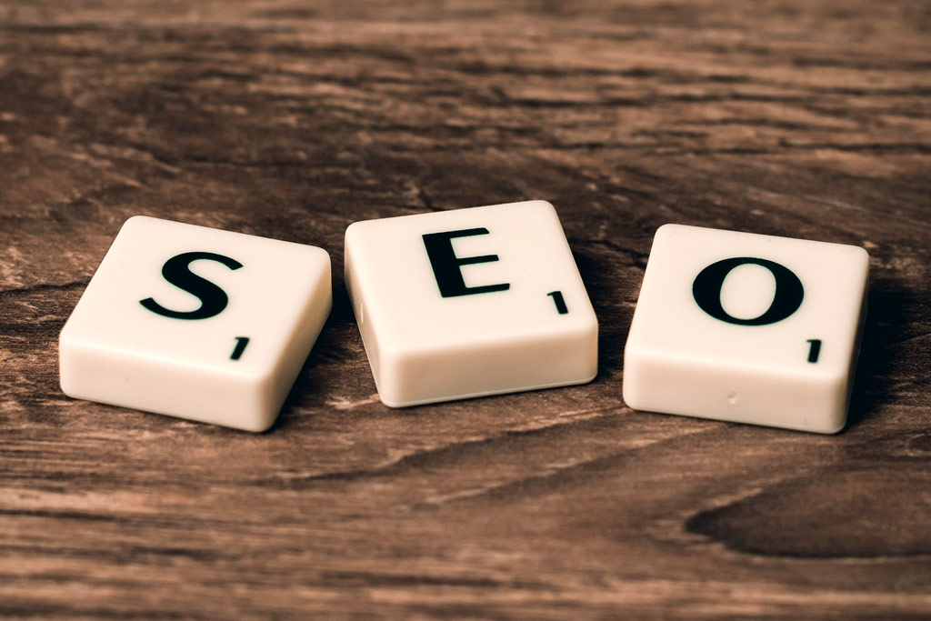 Scrabble pieces spelling out SEO