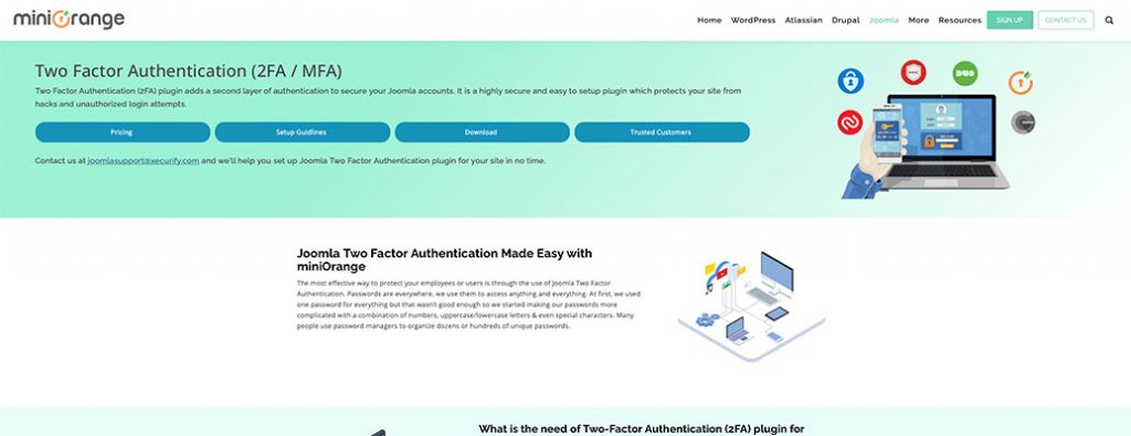 mini orange two factor authentication homepage