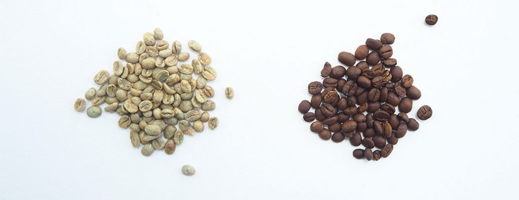 two different colored coffee beans